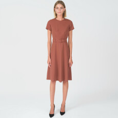 Lyocell A-Line Belted Dress
