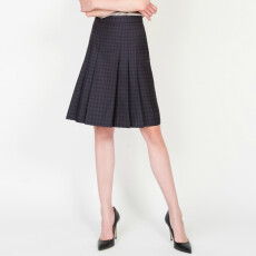 Two Tone Wool Pleated Skirt
