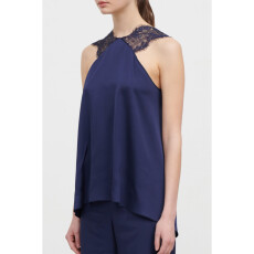 Viscose Satin Lace Trimmed Top